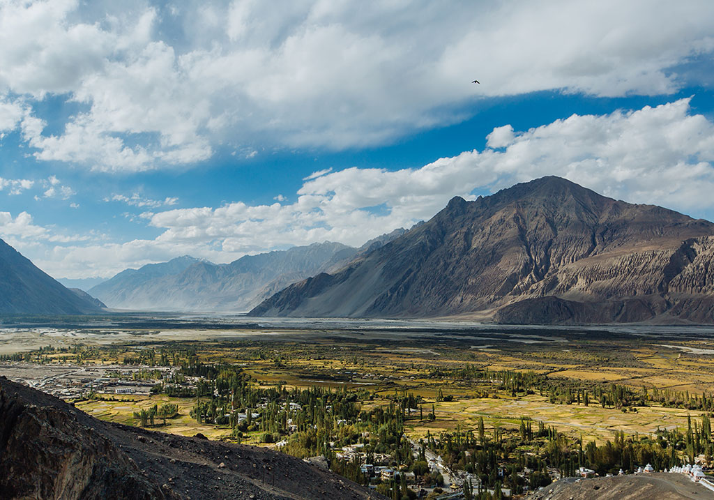View of Nubra valley from Diskit Monastery