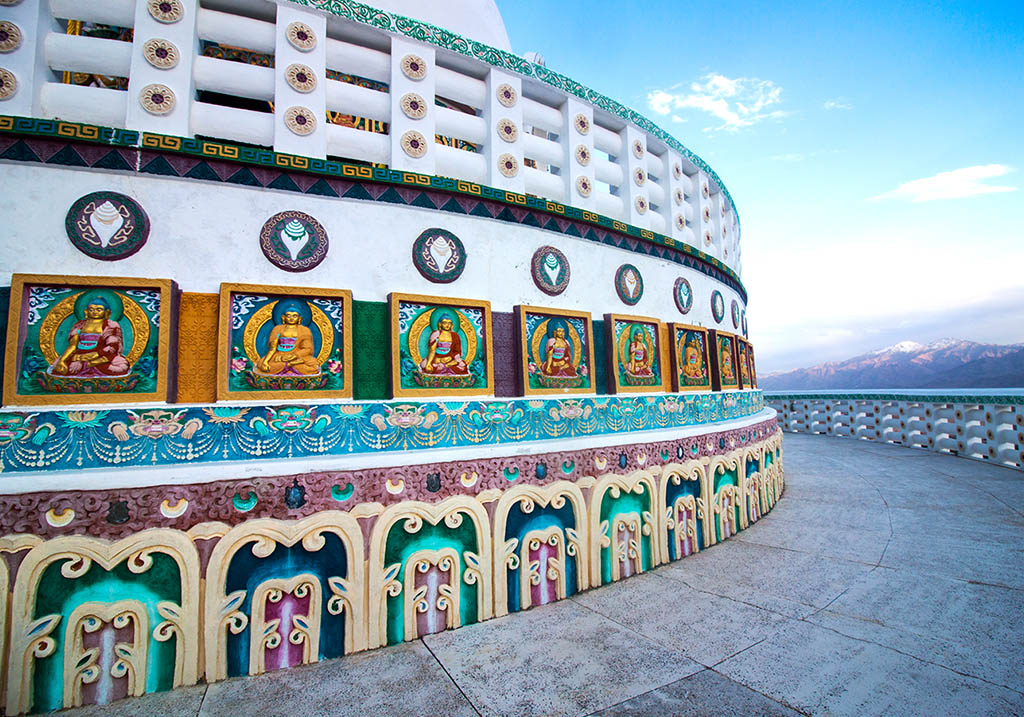 Intricate artwork at Shanti Stupa