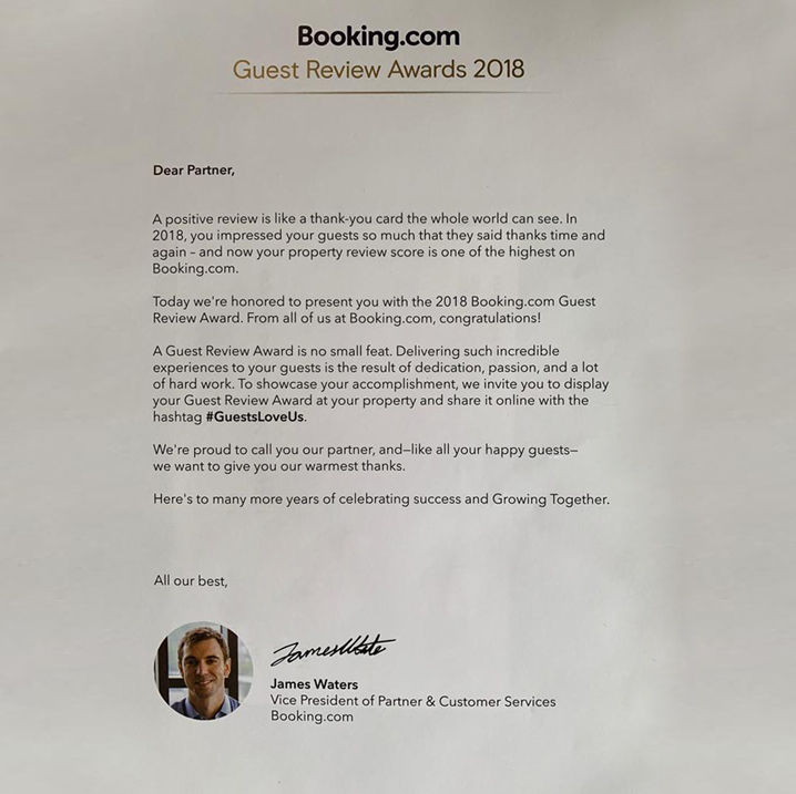 Bookings dot com guest review award 2018